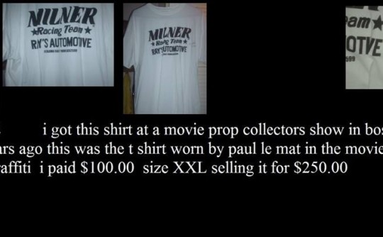 movie prop milners t shirt from american graffiti 2 signed