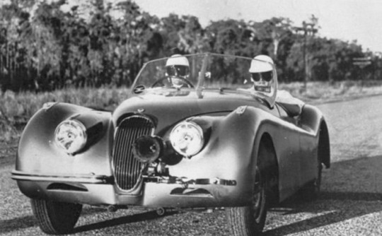 XK120 Jaguar sets new record from Darwin to Alice Springs.